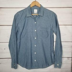Gap Fitted Boyfriend Chambray Shirt Size S